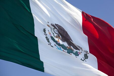 Close view of a large Mexican flag