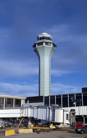 control tower: Airport control tower with clear sky