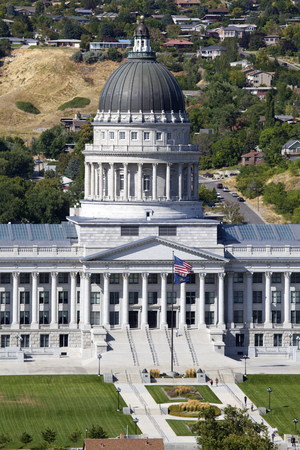 legislator: Daytime aerial view of the front of the Utah State Capitol in Salt Lake City