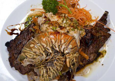 prepared shellfish: Caribbean tropical lobster dinner