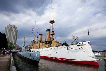 afloat: Independence Seaport Museum is home to The Olympia C6 launched in 1892 is the oldest steel warship afloat in the world and the Becuna SS319 BALAOclass submarine built in New London CT. During World War II launched in 1944. The Museum in a major attraction