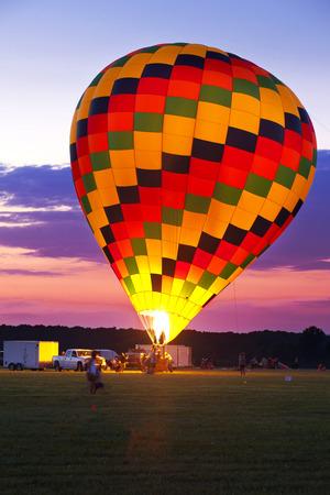 flight mode: Morning launch of hot air balloon Stock Photo