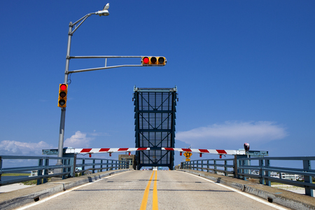 new jersey: Open drawbridge in New Jersey Stock Photo
