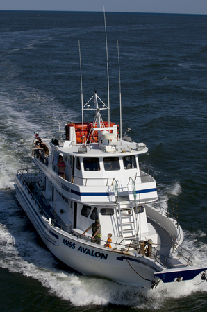 charter: Miss Avalon taking s group of tourist on a fishing charter in Avalon, New Jersey. Charter fishing is a major tourist industry along the New Jersey coast.