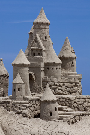 ��copy space �: Sand Castle with blue background. Copy space