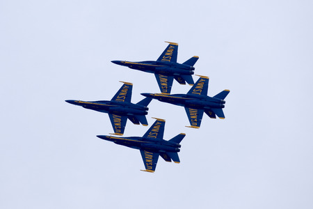 US Navy Blue Angels squadron flying preforming precision aerial maneuvers at the Atlantic City Airshow in New Jersey Editorial