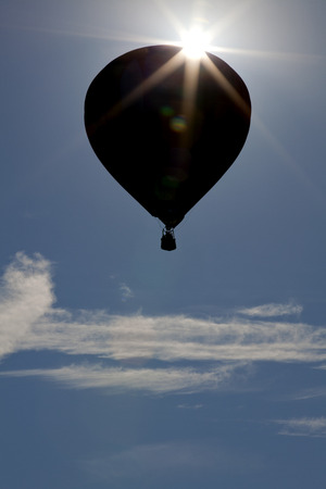 ballooning: Silhouette of hot air balloons at the New Jersey Ballooning Festival in Whitehouse Station, New Jersey