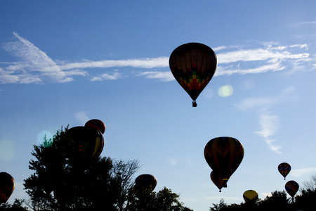 new jersey: Silhouette of hot air balloons at the New Jersey Ballooning Festival in Whitehouse Station, New Jersey