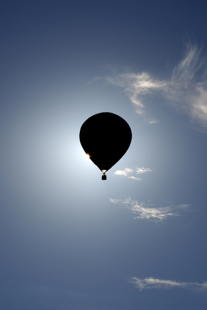 hot air balloons: Silhouette of hot air balloons at the New Jersey Ballooning Festival in Whitehouse Station, New Jersey