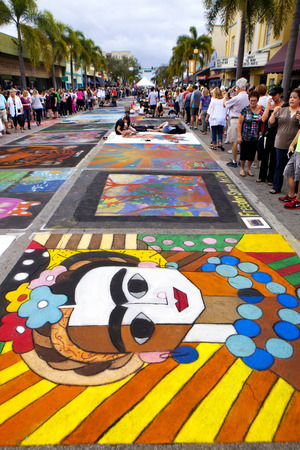 street painting: Annual Lake Worth Florida Street Painting Festival host over 400 Artists that use the pavement as canvas to transform the downtown streets into masterpieces of art during the 2 day event. Over 100,000 visitors will attend this event each year.