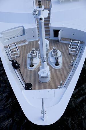 luxuries: Birds eye view of a bow of a modern yatch