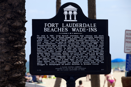 Historical marker for wade-ins Fort Lauderdale Florida wade-ins of Fort Lauderdale beaches. Johnson, Mizell, a third black adult, and four black college students participated in the first wade-in. As many as 200 African-American residents took part  Editorial