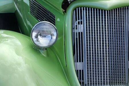 street rod: Close-up of Classic green roaster car