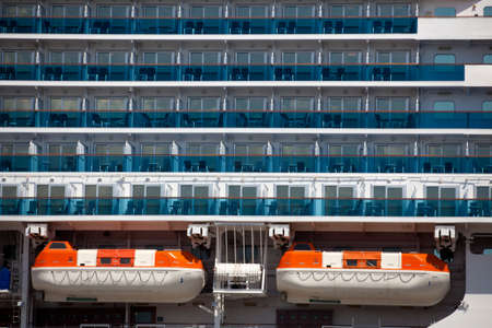 cruiseship: Lifeboats on a unidentifible cruise ship