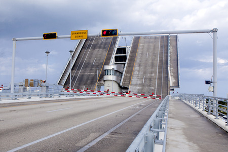drawbridge: Open duel lane drawbridge in Florida Stock Photo