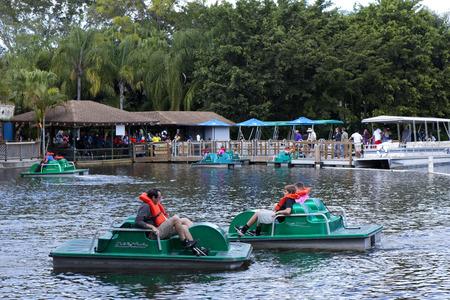 educacion ambiental: montar turística botes de remos con los barcos pontón en el lago en el fondo en Lion Country Safari en Loxahatchee (cerca de West Palm Beach), Florida y aprender sobre la vida silvestre de estar en las islas en el parque y divertirse.