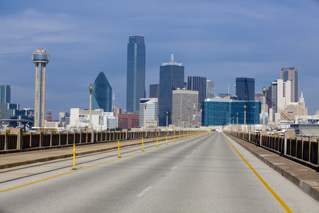 Bridge over the Trinity River to downtowwn Dallas, Texas with no cars Stock Photo
