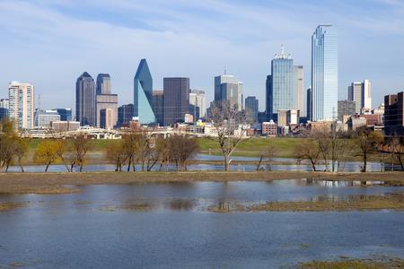 trinity: Skyline of downtown Dallas, Texas and the Trinity River Stock Photo