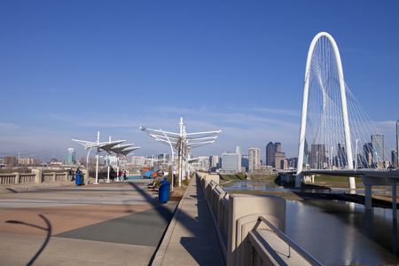 pedestrian bridges: Continental Pedestrian and Margaret Hunt Hill Bridges over Trinity River in Dallas, Texas  2 pictures were used to make this larger panoramic image Editorial