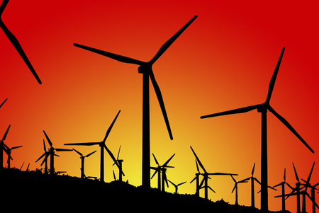 pollution free: Sunset of wind mill farm in southern California at White Water Canyon between Los Angeles and Palm Springs