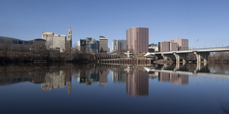 Hartford skyline reflected in the Connecticut river