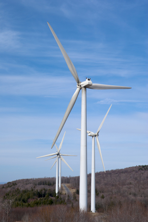 Wind Farm in the Mountains of West Virgina. Copy space