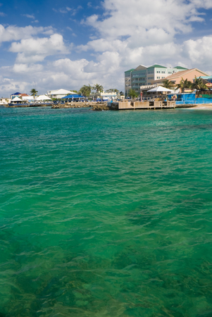 A view of downtown Georgetown from the water. Grand Cayman. Room for copy on bottom of picture
