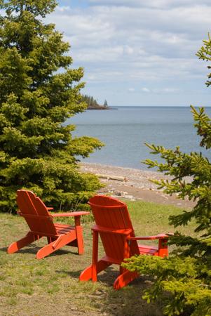 Adirondack Chair overlooking Lake Superior along the north shore region of Minnesota