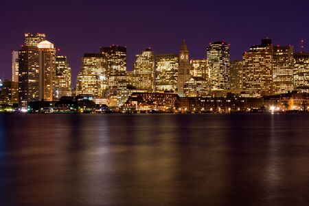 View ofthe skyline of Boston Massachusetts at night. Banque d'images