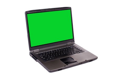 Laptop computer with green screen Imagens