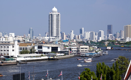 clearer: ThailandDowntown Bangkok, Thailand. Hazy sky due to air pollution, smog.  This was taken on one of the clearer days