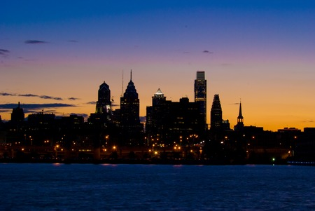 nightime: A view of the Philadelphia skyline from the Delaware river at night Stock Photo