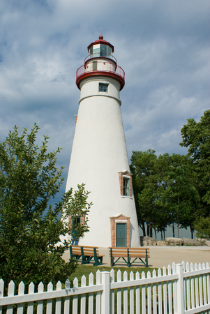 Scenic Marblehead lighthouse on Lake Erie in Ohio built in 1821 Stock Photo