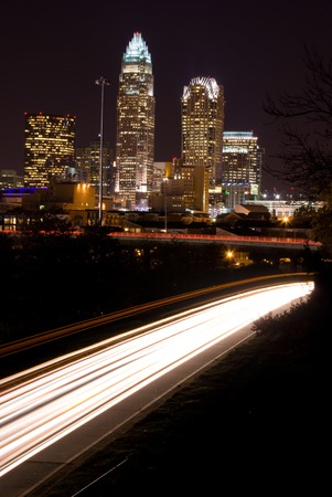 Car traveling to Downtown Charlotte, North Carolina