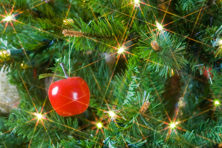 christmas tree decoration: Closeup of ornaments on Christmas tree for texture and background