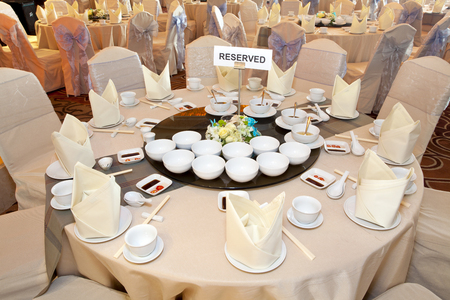 Reserved banquet table Фото со стока - 62375212