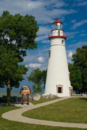 navigation aid: Senic Marblehead lighthouse on Lake Erie in Ohio built in 1821
