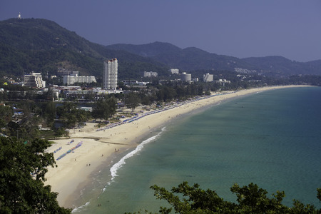 ariel: Ariel view of Karon Beach, Thailand on a hot hazy day. Phuket region