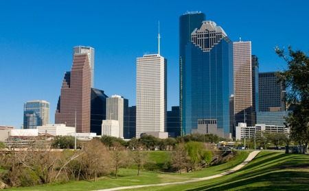 View of the downtown area of Houston from a Buffalo Bayou park. Stock Photo