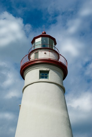 navigation aid: Scenic Marblehead lighthouse on Lake Erie in Ohio built in 1821 Stock Photo