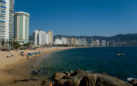 beach front: View from the ocean of the beach front of Acapulco Mexico. Stock Photo