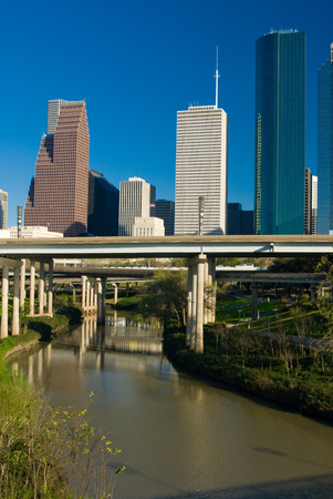 bayou: View of the downtown area of Houston from a Buffalo Bayou park. Stock Photo