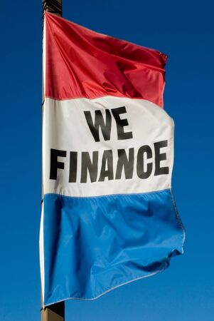 Red White and Blue Finance Flag blowing in the wind Stock fotó - 61660597