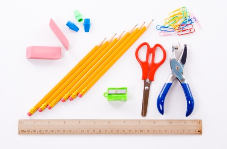 Back to school supplies on a white background
