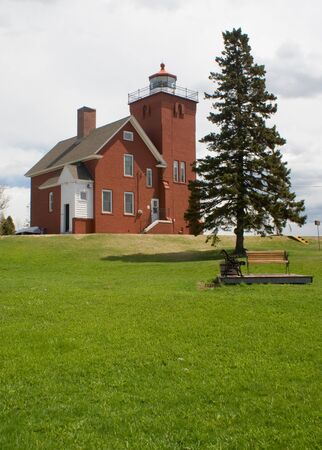 harbors: Two Harbors Lighthouse on Lake Superior in Minnesota. Two Harbors Lighthouse is listed on the National Register of Historic Places built in 1821