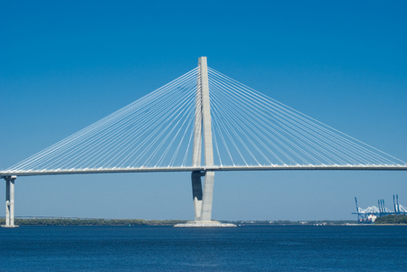 Scenic View of the Cooper River Bridge and marina in Charleston, South Carolina