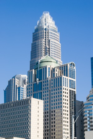 Rascacielos en el centro de Charlotte, Carolina del Norte Foto de archivo