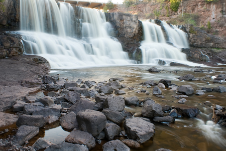 dropoff: Gooseberry Fall, Minnesota - Waterfalls Stock Photo