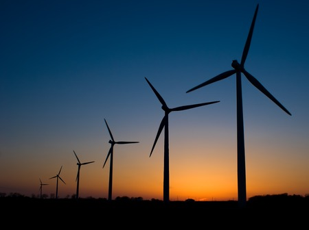 windfarm: Sunset of Wind Mills just outside Rochester, Minnesota. Stock Photo