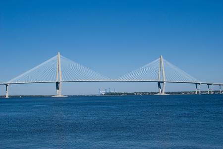 cooper: Scenic View of the Cooper River Bridge and marina in Charleston, South Carolina